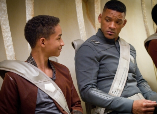 "Jaden Smith, left, and WIll Smith star in Columbia Pictures' ""After Earth."""